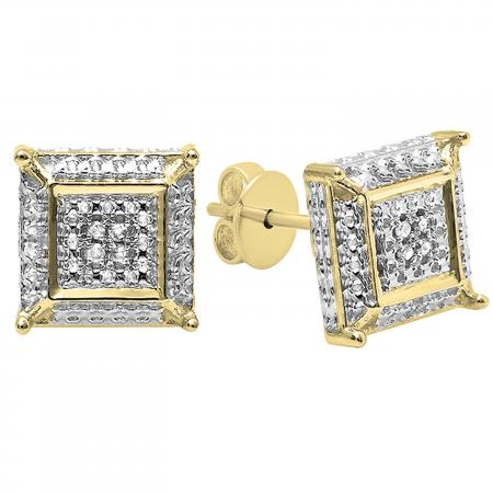 0.05 Carat (ctw) Round White Diamond Micro Pave Setting Square Shape Stud Earrings, 14K Yellow Gold