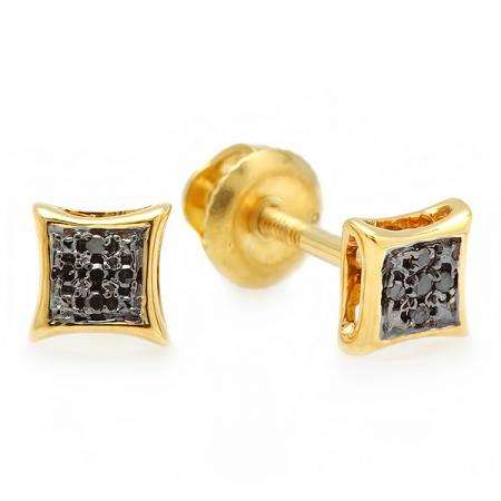 0.05 Carat (ctw) 18k Yellow Gold Plated Sterling Silver Black Round Diamond Micro Pave Setting Kite Shape Stud Earrings