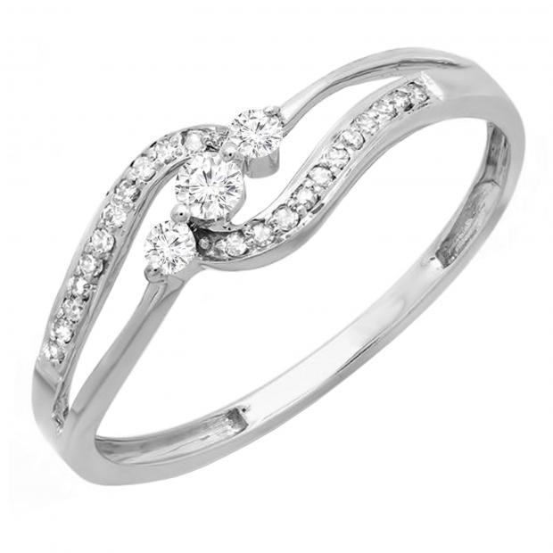 0.20 Carat (ctw) Round White Diamond Ladies 3 stone Engagement Promise Ring 1/5 CT, 10K White Gold