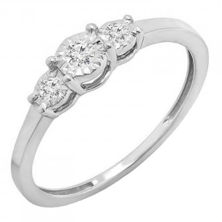 0.20 Carat (ctw) Round White Diamond Ladies 3 stone Engagement Promise Ring 1/5 CT, Sterling Silver