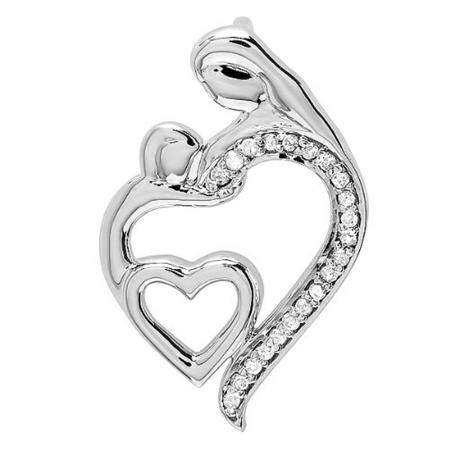 Mother's Day 1.00 Ct Round And Baguette Diamond 14K Gold Over Heart Pendant