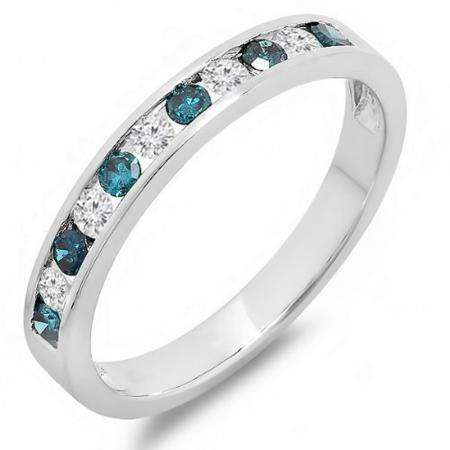 0.40 Carat (ctw) 10k White Gold Round White & Blue Diamond Ladies Anniversary Wedding Stackable Ring Band