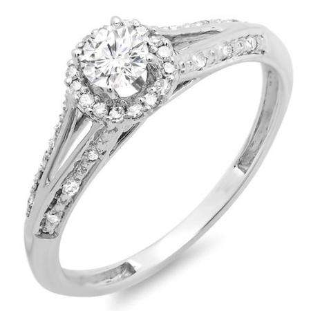 0.40 Carat (ctw) 14k White Gold Round Diamond Ladies Engagement Halo Style Split Shank Bridal Ring