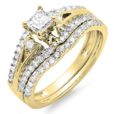 1.00 Carat (ctw) 14k Yellow Gold Princess & Round Diamond Ladies Ring Engagement Bridal Wedding Band Set 1 CT