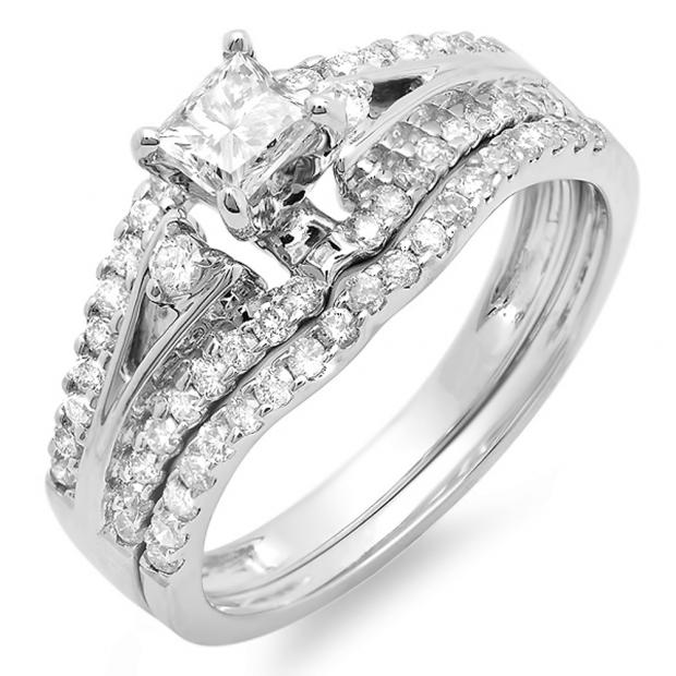 1.00 Carat (ctw) 14k White Gold Princess & Round Diamond Ladies Ring Engagement Bridal Wedding Band Set 1 CT