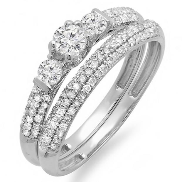 0.85 Carat (ctw) 14k White Gold Round Diamond 3 Stone Ladies Bridal Engagement Ring Wedding Band Set