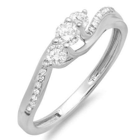 0.50 Carat (ctw) 14k White Gold Round Diamond 3 Stone Ladies Swirl Bridal Engagement Ring 1/2 CT