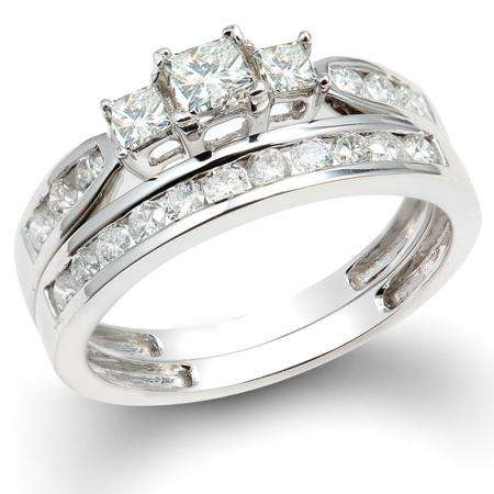 1.00 Carat (ctw) 14k White Gold Princess & Round 3 Stone Diamond Ladies Bridal Ring Set Engagement Set