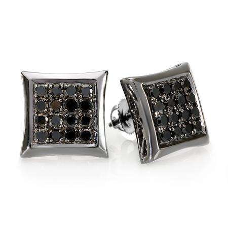 0.75 Carat (ctw) Sterling Silver Plated Black Rhodium Round Diamond Micro Pave Square Shape Hip Hop Iced Stud Earrings