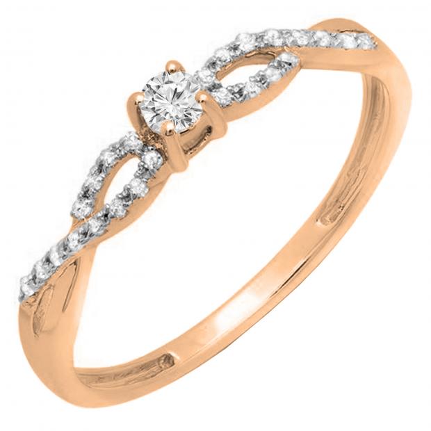 0.20 Carat (ctw) 10K Rose Gold Round Diamond Bridal Engagement Ring
