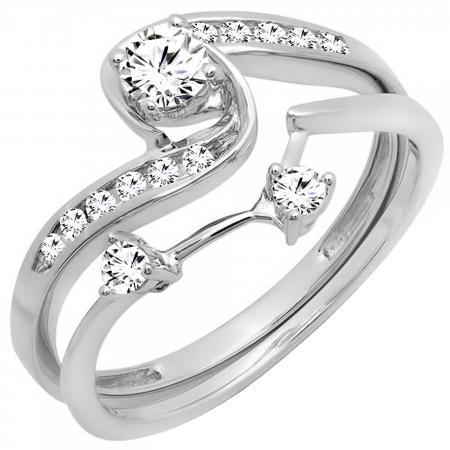 050 Carat ctw 10k White Gold Round Diamond Ladies Swirl Bridal