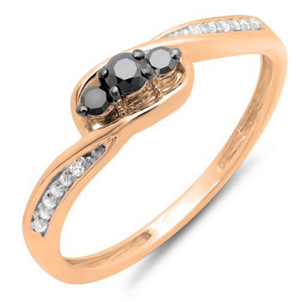 0.25 Carat (ctw) 14k Rose Gold Round Black & White Diamond Ladies 3 Stone Engagement Promise Ring 1/4 CT