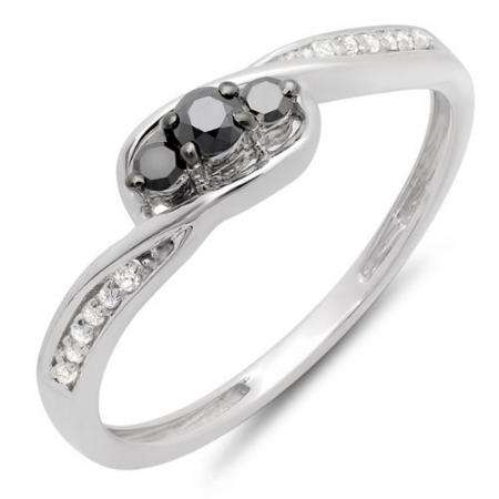0.25 Carat (ctw) 18k White Gold Round Black & White Diamond Ladies 3 Stone Engagement Promise Ring 1/4 CT