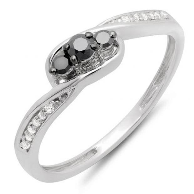 0.25 Carat (ctw) 10k White Gold Round Black & White Diamond Ladies 3 Stone Engagement Promise Ring 1/4 CT