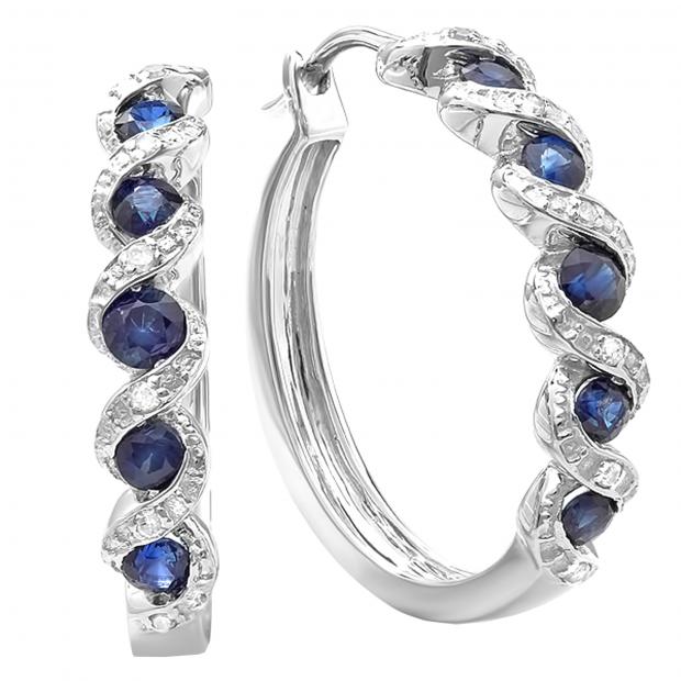 0.86 Carat (ctw) Sterling Silver Round White Diamond & Blue Sapphire Hoop Earrings