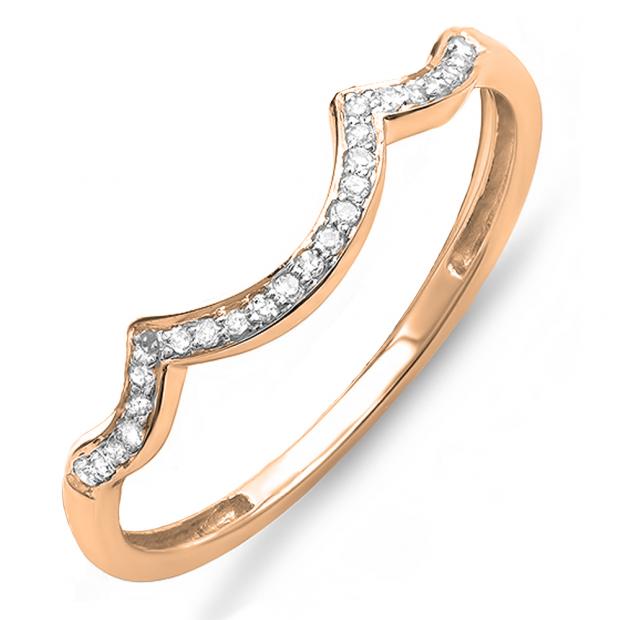 0.10 Carat (ctw) 10K Rose Gold Round Cut Diamond Ladies Stackable Anniversary Wedding Contour Band Guard Ring 1/10 CT