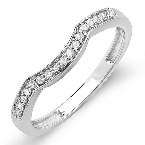 0.15 Carat 14k Gold Round Diamond Ladies Anniversary Wedding Matching Band Stackable Ring ctw