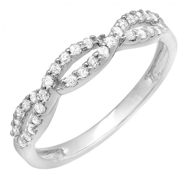 0.33 Carat (ctw) Round Diamond Ladies Anniversary Wedding Stackable Band 1/3 CT, 14K White Gold