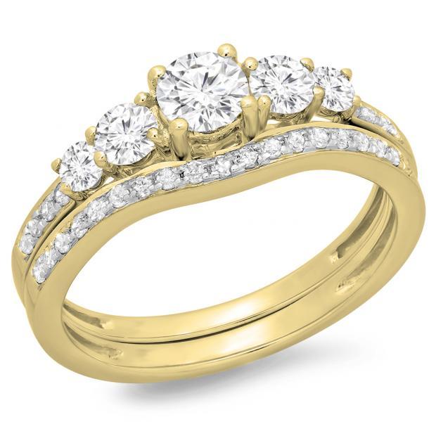 1.00 Carat (ctw) 18K Yellow Gold Round Cut Diamond Ladies 5 Stone Bridal Engagement Ring With Matching Band Set 1 CT