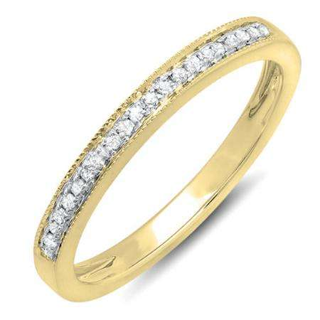 0.15 Carat (ctw) 14k Yellow Gold Round White Real Diamond Wedding Anniversary Millgrain Stackable Band Ring