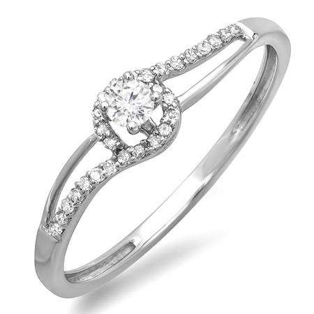0.16 Carat (ctw) 10k White Gold Round Cut Diamond Ladies Engagement Bridal Promise Ring