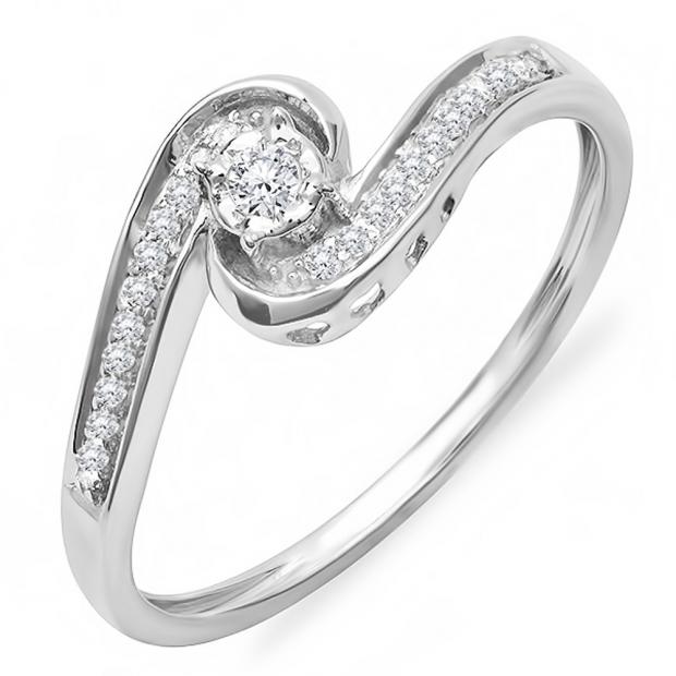 0.15 Carat (ctw) 10k White Gold Round Diamond Ladies Swirl Promise Engagement Ring