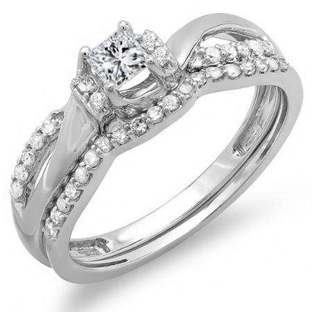 0.40 Carat (ctw) 10k White Gold Princess and Round Diamond Ladies Bridal Swirl Wave Engagement Ring Matching Band Wedding Set