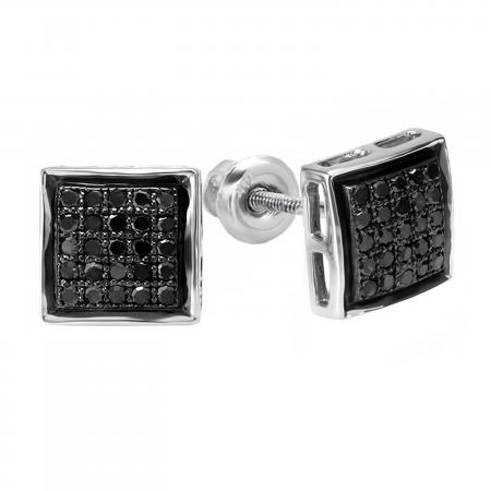 0.25 Carat (ctw) Sterling Silver Black Round Diamond Ladies Mens Unisex Hip Hop Micro Pave Stud Earrings 1/4 CT