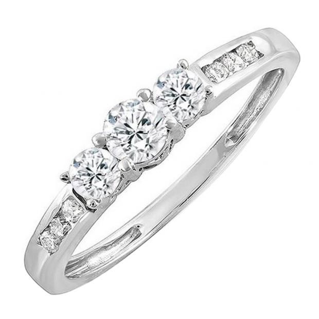 0.45 Carat (ctw) 14k White Gold Round Diamond Ladies 3 stone Engagement Bridal Ring