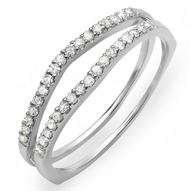 0.25 Carat (ctw) 14K White Gold Round White Diamond Ladies Anniversary Enhancer Guard Matching Wedding Band