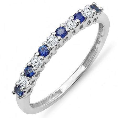 0.33 Carat (ctw) 10K White Gold Round White Diamond & Blue Sapphire Anniversary Stackable Wedding Band 1/3 CT