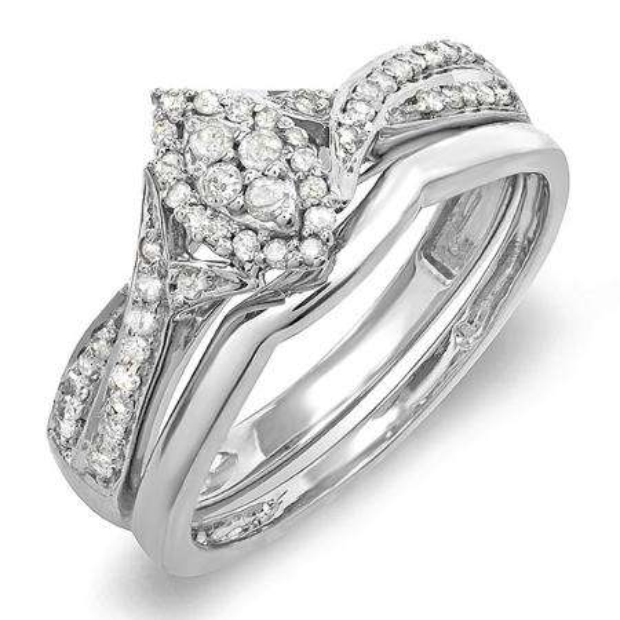 0.30 Carat (ctw) 10k White Gold Round Diamond Ladies Bridal Split Shank Marquise Shaped Engagement Ring Matching Band Wedding Set