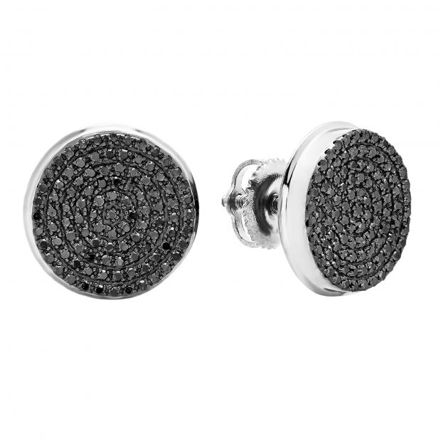 0cc09c3b4811 0.40 Carat (ctw) 14K White Gold Real Black Diamond Micro Pave Hip Hop Mens Stud  Earrings