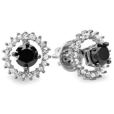 1.00 Carat (ctw) Sterling Silver Ladies Round Black & White Diamond Stud Earrings Jackets can be separated