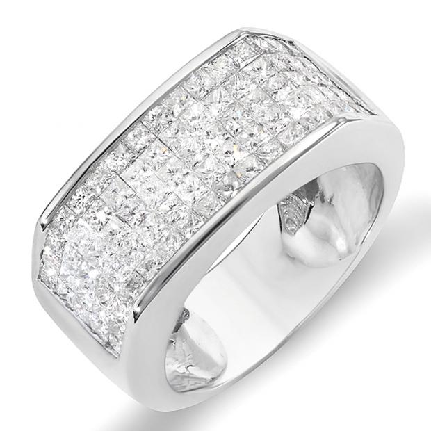 2.00 Carat (ctw) 14k White Gold Princess Invisible Set Diamond Men