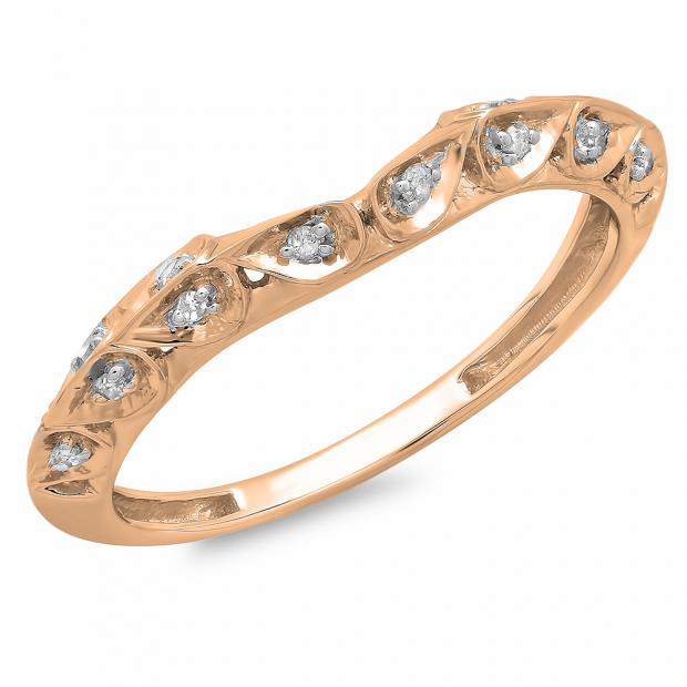 0.10 Carat (ctw) 14K Rose Gold Round Diamond Ladies Anniversary Wedding Stackable Matching Band 1/10 CT