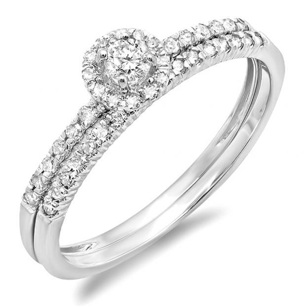 0.33 Carat (ctw) 14k White Gold Round Diamond Ladies Halo Style Bridal Engagement Ring Matching Band Set 1/3 CT
