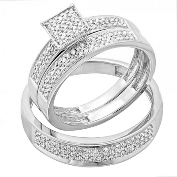 0.55 Carat (ctw) Sterling Silver Round White Diamond Men