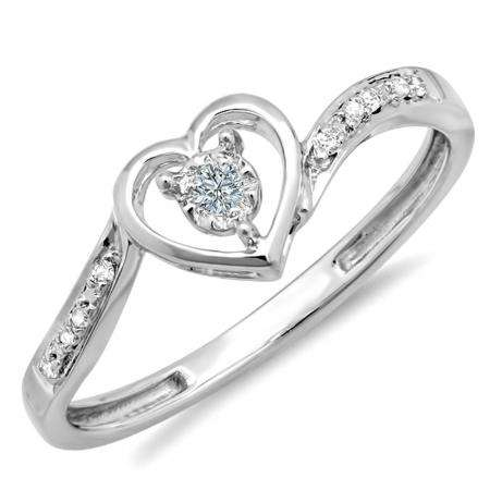 0.10 Carat (ctw) 10k White Gold Round Diamond Ladies Heart Shaped Promise Bridal Engagement Ring 1/10 CT