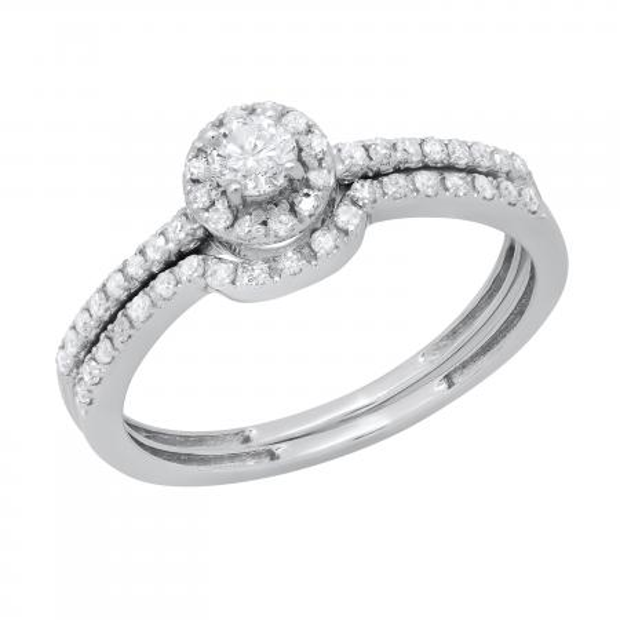 0.45 Carat (ctw) 14k White Gold Round Diamond Ladies Halo Style Bridal Engagement Ring Matching Band Set