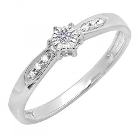 0.05 Carat (ctw) Sterling Silver Round Diamond Ladies Promise Bridal Engagement Ring