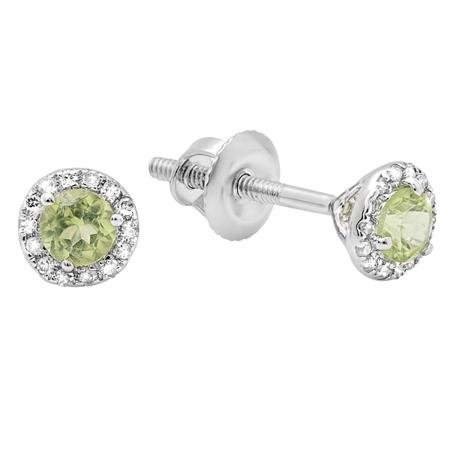 0.35 Carat (ctw) 10k White Gold Round Green Peridot & White Diamond Ladies Halo Stud Earrings 1/3 CT