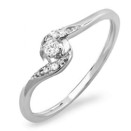 0.08 Carat (ctw) 10k White Gold Round Diamond Ladies Bridal Promise Bypass Engagement Ring 1/10 CT