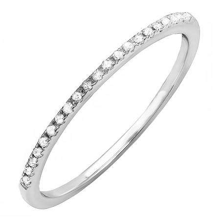 0.10 Carat (ctw) 14K White Gold Round White Diamond Anniversary Ring Wedding Stackable Band 1/10 CT