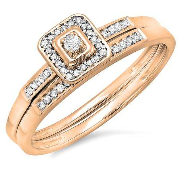 0.15 Carat (ctw) 10K Rose Gold Round Diamond Ladies Halo Engagement Bridal Ring Set Matching Wedding Band