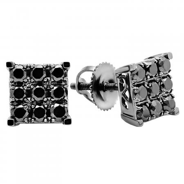 0.90 Carat (ctw) 10k White Gold Round Black Diamond Square Shaped Stud Earrings