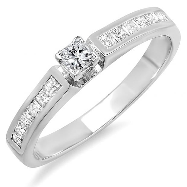 0.78 Carat (ctw) 14k White Gold Princess Diamond Ladies Bridal Engagement Ring 3/4 CT