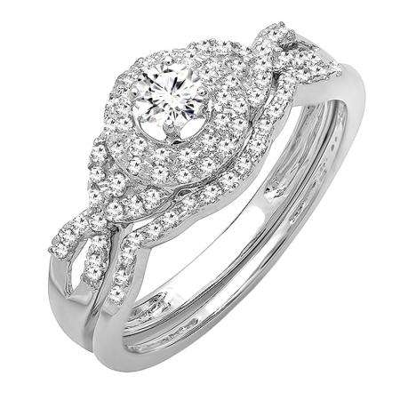0.50 Carat (ctw) 14k White Gold Round Diamond Ladies Halo Style Bridal Engagement Ring Matching Band Wedding Set 1/2 CT