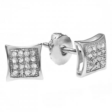 0.05 Carat (ctw) Platinum Plated Sterling Silver Real Diamond Kite Shape Mens Hip Hop Iced Stud Earrings
