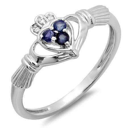 0.15 Carat (ctw) 10k White Gold Round Diamond and Blue Sapphire Ladies Bridal Promise Irish Love and Friendship Band Claddagh Heart Shape Ring